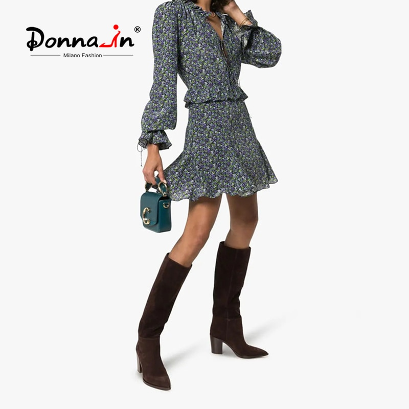 دونا في 2021 الخريف جديد المرأة الرجعية الركبة أحذية عالية تشونسي كعب أشار تو الانزلاق على الغربية أحذية طويلة الإناث حجم كبير 35-45