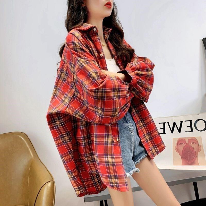 Niche Design Sense Loose Plaid Shirt Women All-Match Korean Style Shirts Wearing Retro Hong Kong-Style Jackets недорого