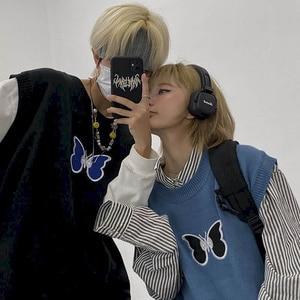 Vest Sweater Men Women Japanese Dark Wind High Street Hip-hop Tide Butterfly Embroidery Vest Loose Sweater Keep Warm