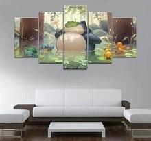 5 Stuk Canvas Art Anime Poster Hd Foto Prints Modulaire Klassieke Cartoon Pokemon Game Woonkamer Decoratieve Schilderkunst Frame