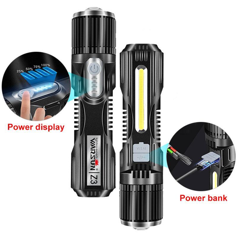 T6 LED forte batterie externe lampe de poche 500 mètres USB Rechargeable Portable torche avec Stents lampe davertissement lampe de poche de Camp en plein air