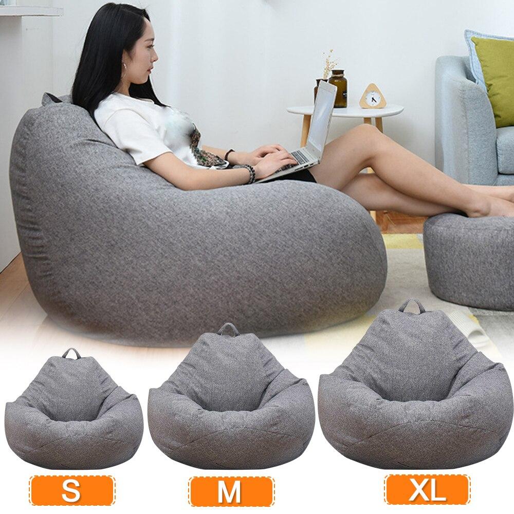 Чехлы для диванов больших и маленьких размеров, стулья без наполнителя, из льняной ткани, мешок для отдыха, татами, для гостиной