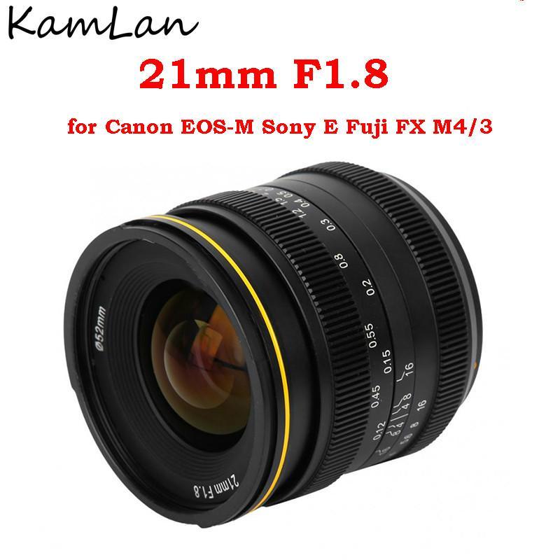 Kamlan 21 مللي متر F1.8 عدسة كاميرا بدون مرآة مقاوم للماء MF دليل إصلاح التركيز رئيس لكانون EOS-M سوني E فوجي X FX M4/3 ل M10 M5