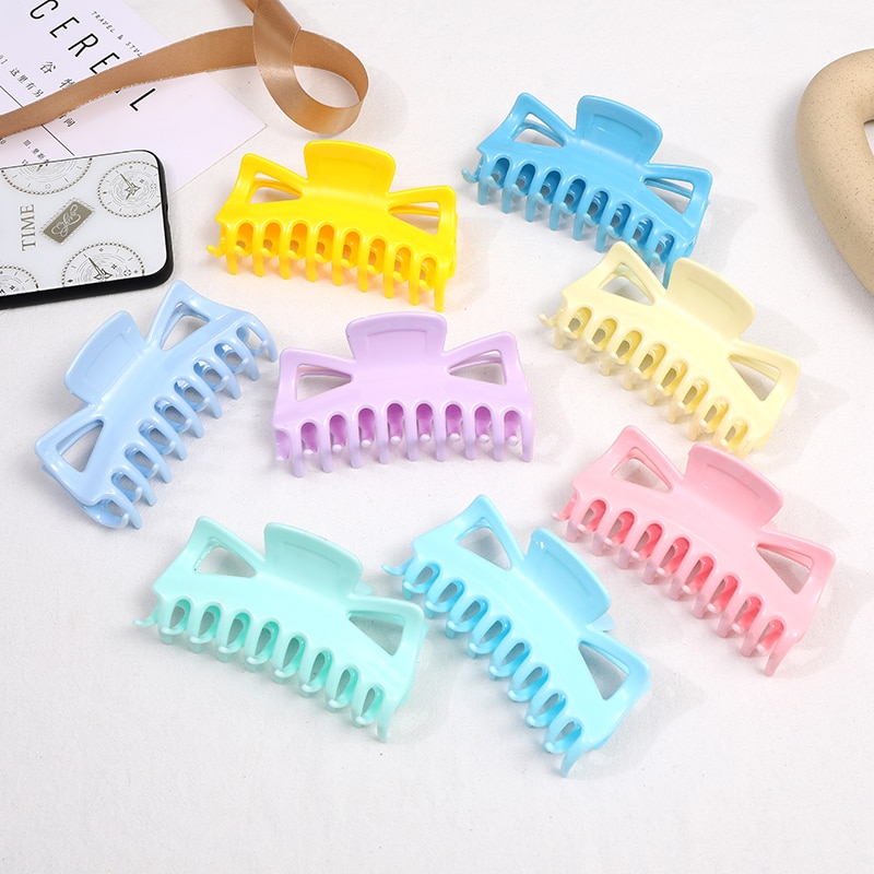 AliExpress - Simple Hair Claw Hairpin Rainbow Gradient Color Shower Tray Hairpin Fashion Cute Lazy Headwear High Quality Hair Accessories