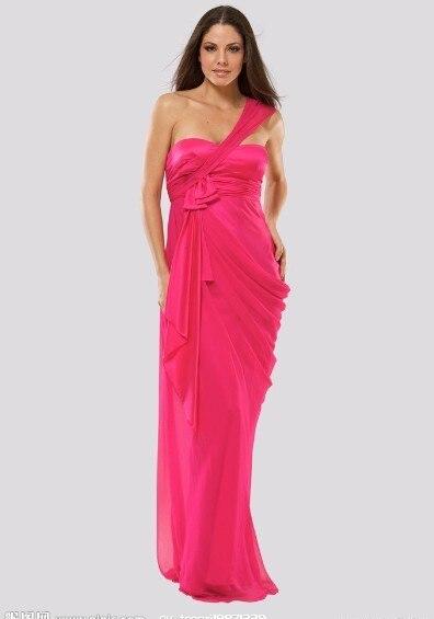 Envío Gratis 2014 nuevo diseño caliente un hombro personalizado rojo púrpura vestido com tule chiffon vestido largo de dama de honor