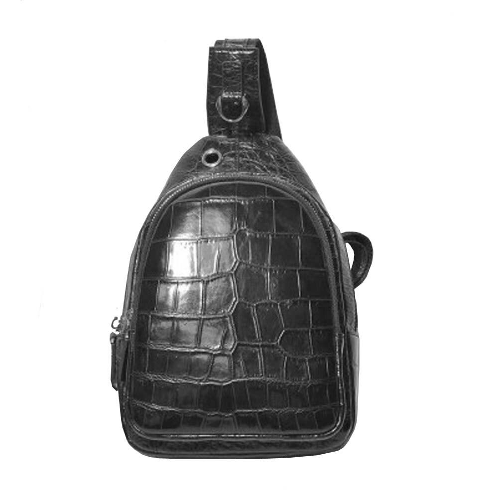 hongsen new arrival true  crocodile  Chest bag  male  leisure  crocodile leather  Inclined shoulder bag men crocodile  bag