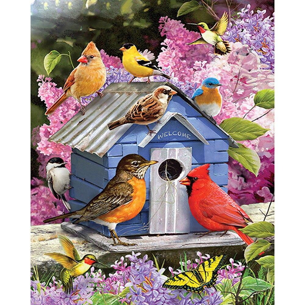 Cuadro de diamantes bordado de animales para decoración del hogar, pintura de Nido de Pájaro, taladro redondo completo, regalo de punto de cruz, pegatina para pared hecha a mano