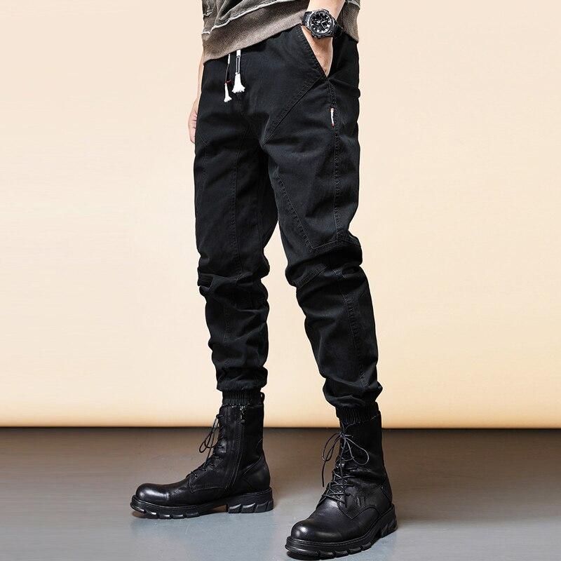 Джинсы мужские свободного покроя, уличная одежда, Дизайнерские повседневные брюки-карго в стиле пэчворк, Джоггеры в Корейском стиле хип-хоп