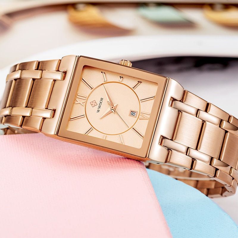 WWOOR New Style Ladies Quartz Watch Fashion Casual Ladies Wrist Watch Womens Stainless Steel Square Rose Gold Watches Date Women enlarge