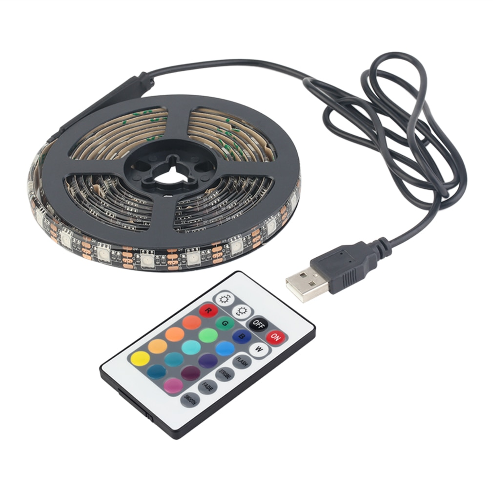 Светодиодная лента, 12 RGB 5050 SMD, водонепроницаемый гибкий светодиодный светильник, 5 В, Рождественская декоративная лампа, черная лента, Лидер ...