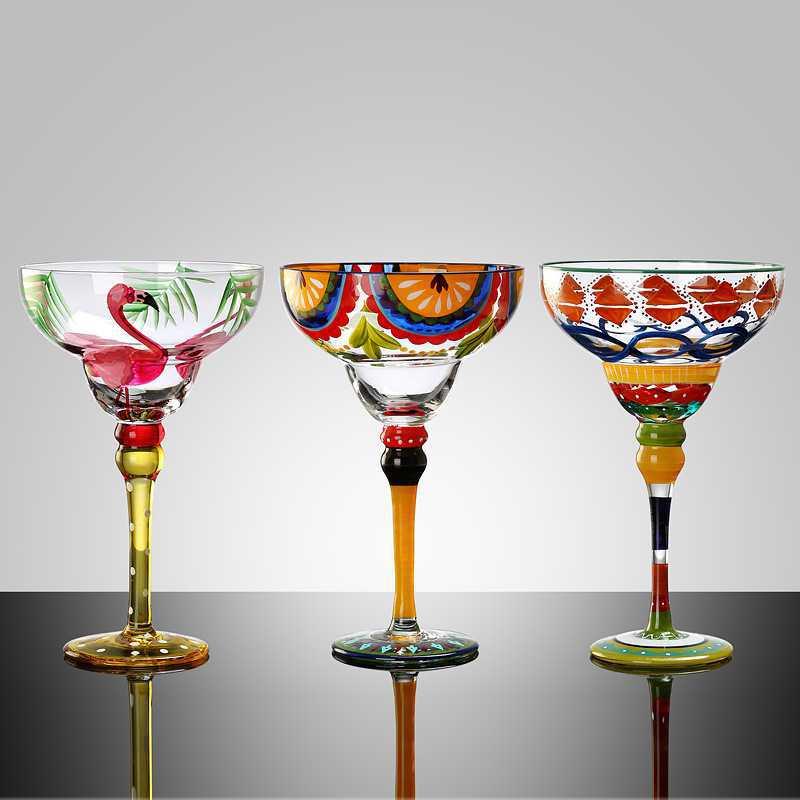 270 مللي الإبداعية مارغريتا كؤوس مشروبات اليدوية الملونة كوكتيل كأس زجاجية كوب خالية من الرصاص شريط المنزل حفل زفاف درينكوير