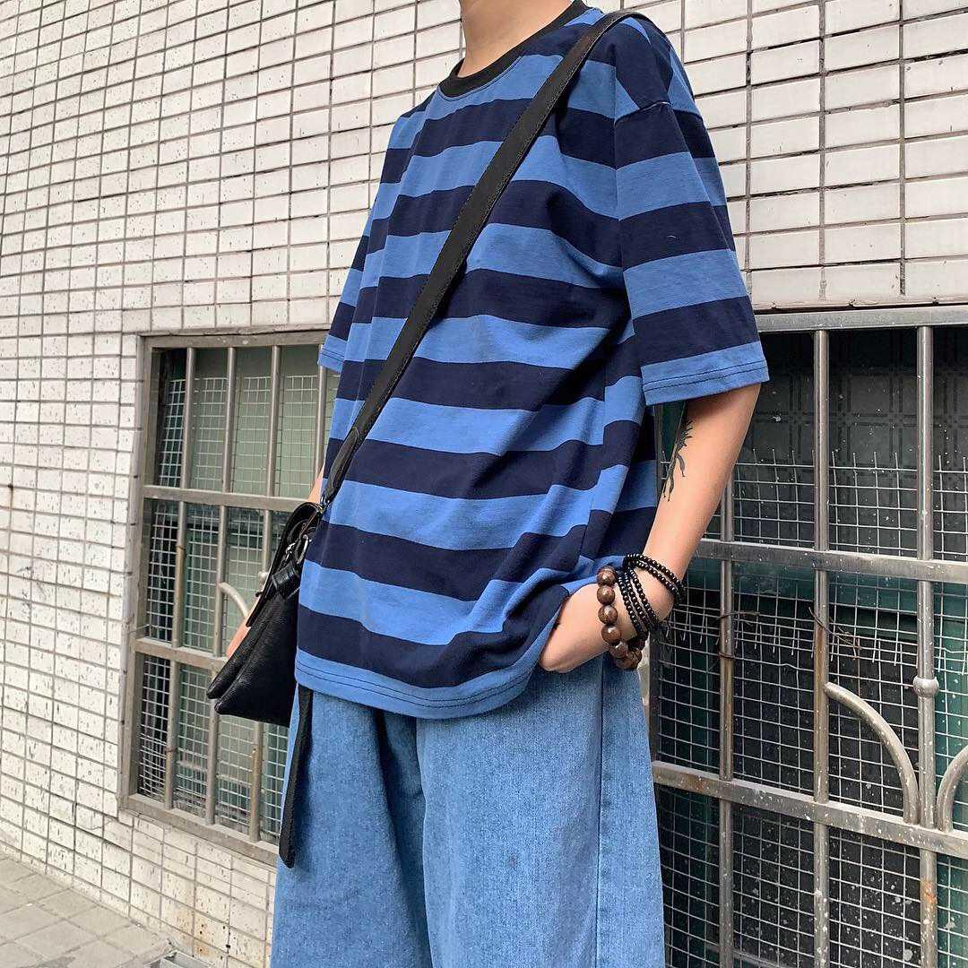 Summer 2021 New Ins Korean Style Ulzzang Loose Harajuku BF Style Striped Short Sleeve T-shirt Couple