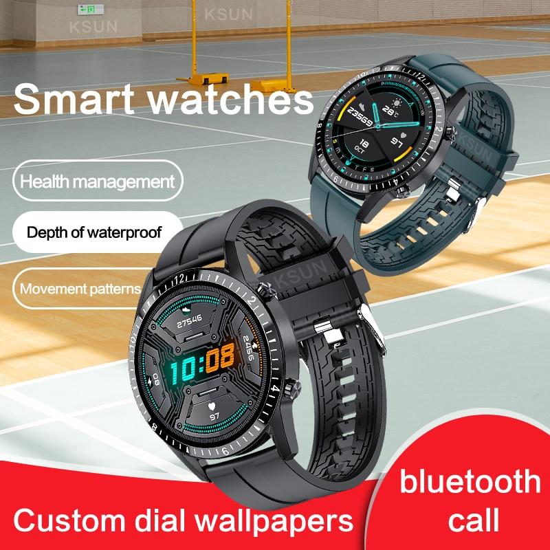KSUN-reloj inteligente KSR935 para hombre, completamente táctil, con Bluetooth, llamada, deportivo, IP68, Monitor de ritmo cardíaco, para teléfono IOS y Android