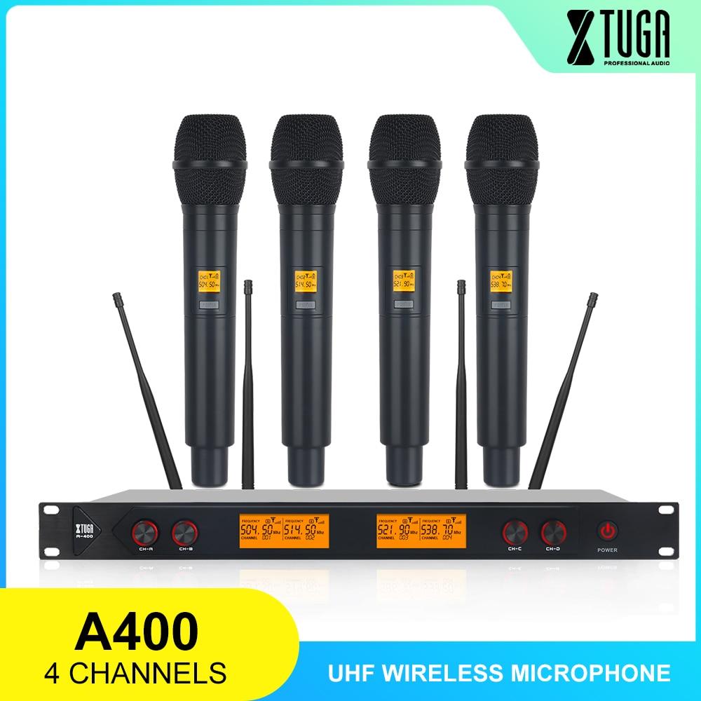 XTUGA A-400 المواد المعدنية 4-قناة UHF ميكروفون لاسلكي نظام مع 4 باليد للمرحلة الكنيسة الأسرة حزب صغير الكاريوكي