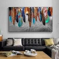 Peinture sur toile de couleur moderne  plumes colorees  affiches  imprimes de haute qualite  images dart murales pour la maison  decoration de salon a la mode