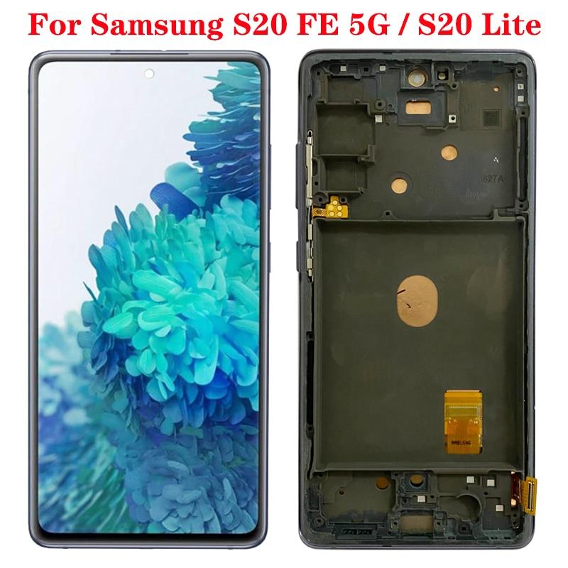 الأصلي S20FE 4G G780B LCD لسامسونج غالاكسي S20 مروحة طبعة 5G العرض مع الإطار SM-G781B/DS G781U LCD شاشة تعمل باللمس