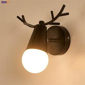 Милый деревянный светодиодный настенный светильник, черный железный зеркальный светильник в виде оленя, креативная лампа для спальни, гост...