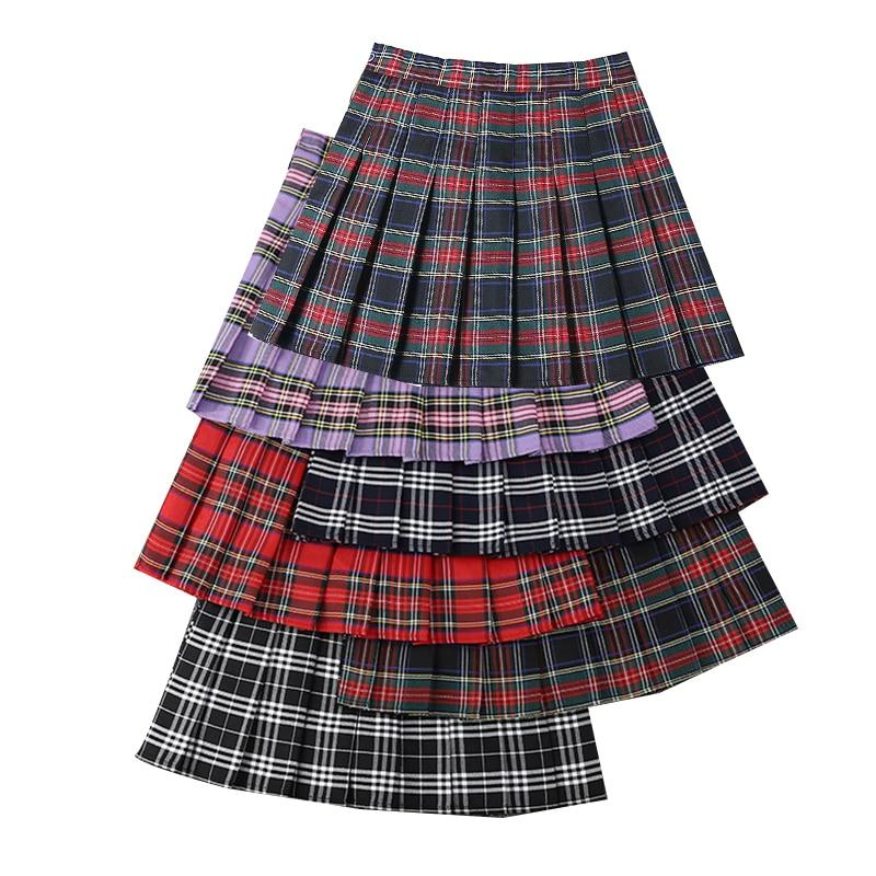 AliExpress - High Waist A-Line Women Plaid Skirt Summer Female Pleated Skirts Fashion Chic Ladies Girls Mini Skirts Slim Waist Tennis Skirt