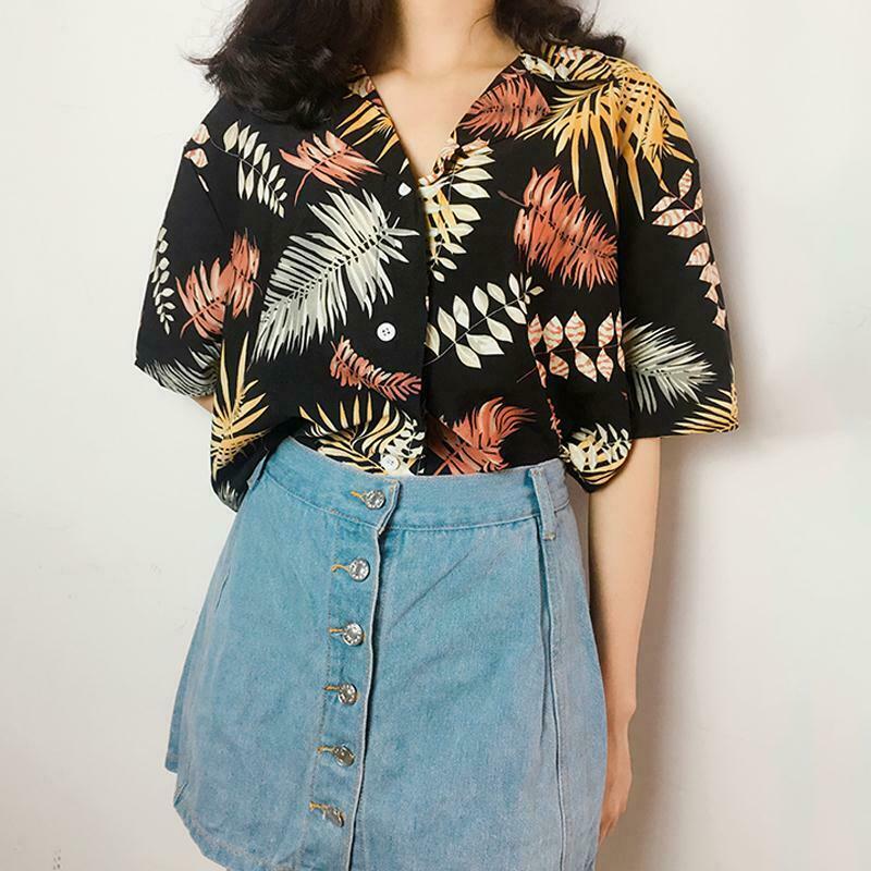 Fashion Womens Chiffon Hawaiian Style Blouses Shirts Casual Girls Blouses Top Floral Short Sleeve Shirts Summer Loose Tops