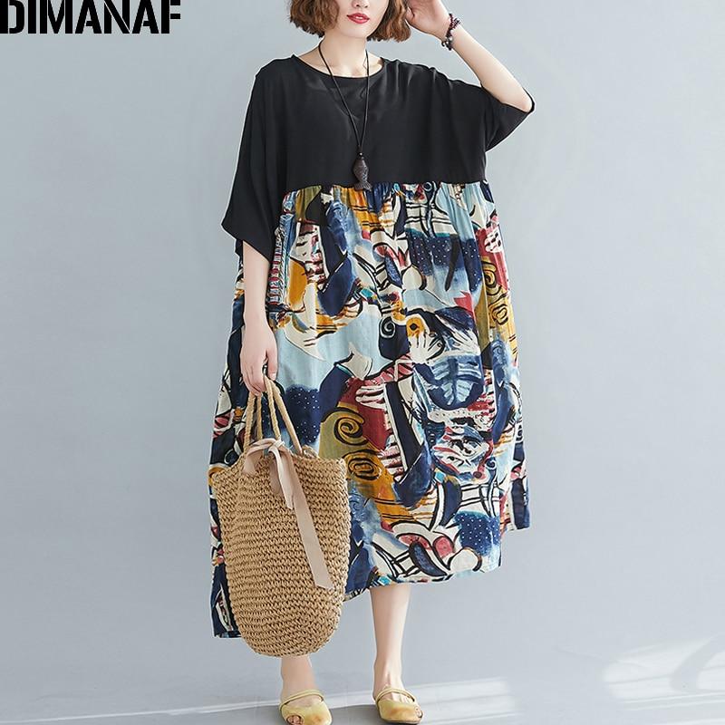 DIMANAF vestido de gran tamaño para mujer, vestido veraniego elegante para mujer, Vestidos informales de algodón holgados de talla grande Vintage, vestido negro empalmado