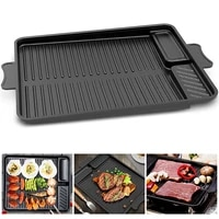 non sticking double ears grill plate easy access steak grill pan utensils for outdoor bbq