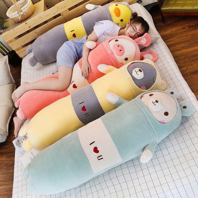 ¡Oferta! Viñetas de animales suaves 65/90/120cm almohada cojín bonito oso de peluche cerdo de pato peluche cojín encantador regalo del cumpleaños de los niños