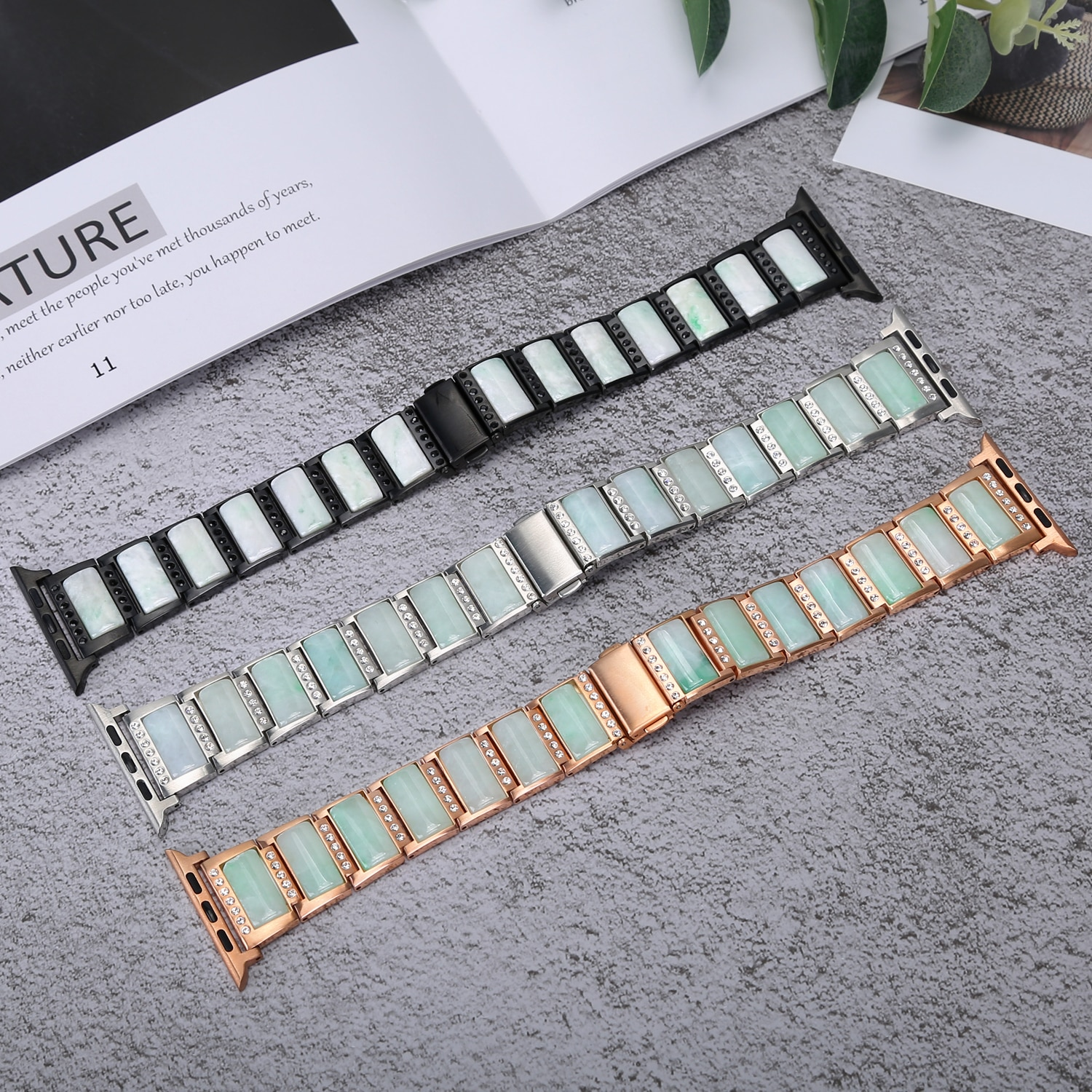 Jewelry Bracelet With Ture Natural Jade Stainless Steel Watchband for apple watch SE/6/5/4/3/2/1 enlarge