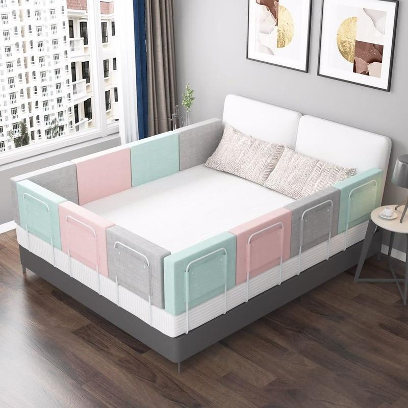 Baby Crib Guardrail Adjustable 28cm High Crib Bumper Anti-collision Crib Fence Guardrail Universal Soft Door Crib