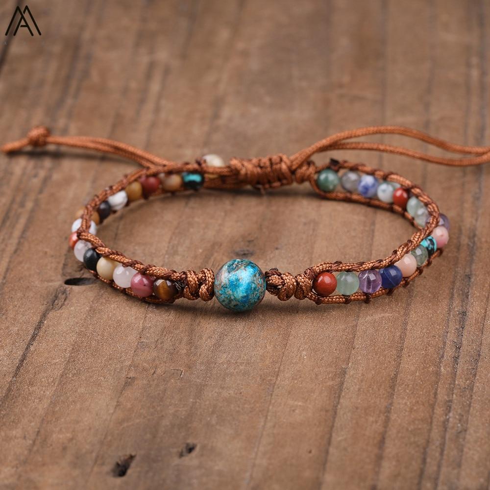 6mm natural mistos grânulos de pedra envoltório sedimento do mar contas redondas tecido atado corda pulseira para mulher cura jóias n0347ami