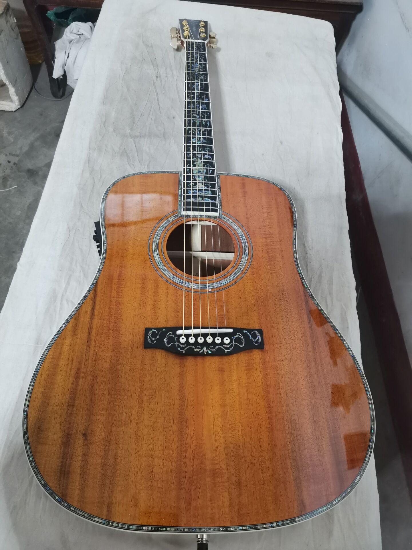 """Guitarra acústica de lujo de 41 """"solid koa top, envío gratis, hecha a mano, madera de koa con incrustación real de abulón, guitarra acústica"""