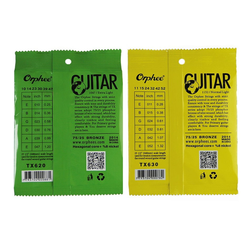 Orphee 1 SET Senar Gitar Akustik Inti Heksagonal + 8% Nikel Penuh, Perunggu Nada Terang & Ekstra Ringan Ekstra Ringan Medium