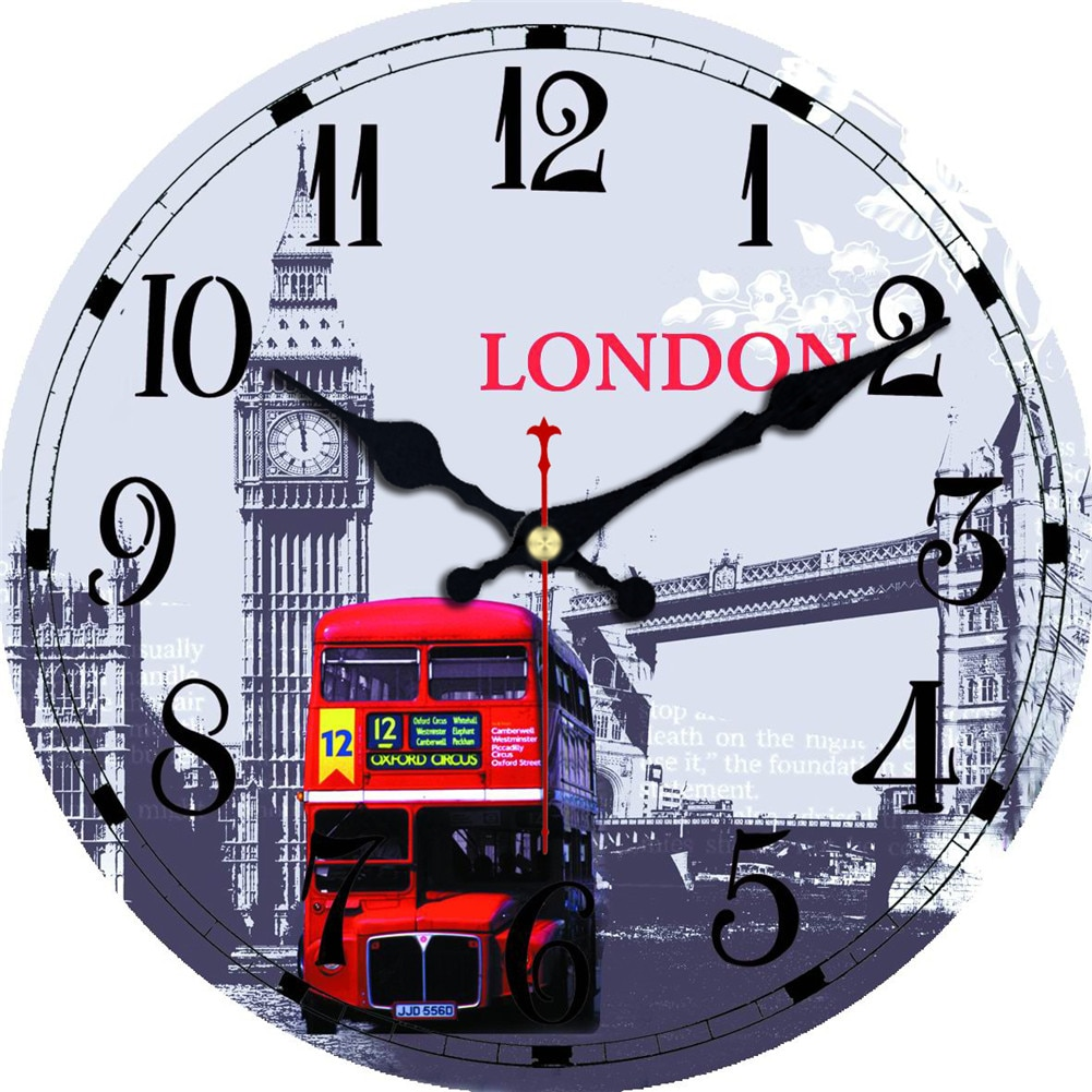 Wall Clocks Silent Living Room Home Office Wall Decoration Watches  Paris London City Street Bus Rou