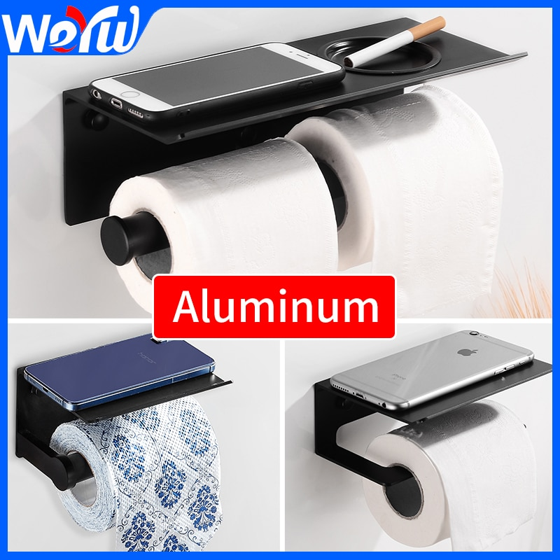 Soporte de papel higiénico para teléfono, soporte de rollo de baño, soporte de papel de aluminio con estante negro, doble soporte para papel de cocina, soporte de pared