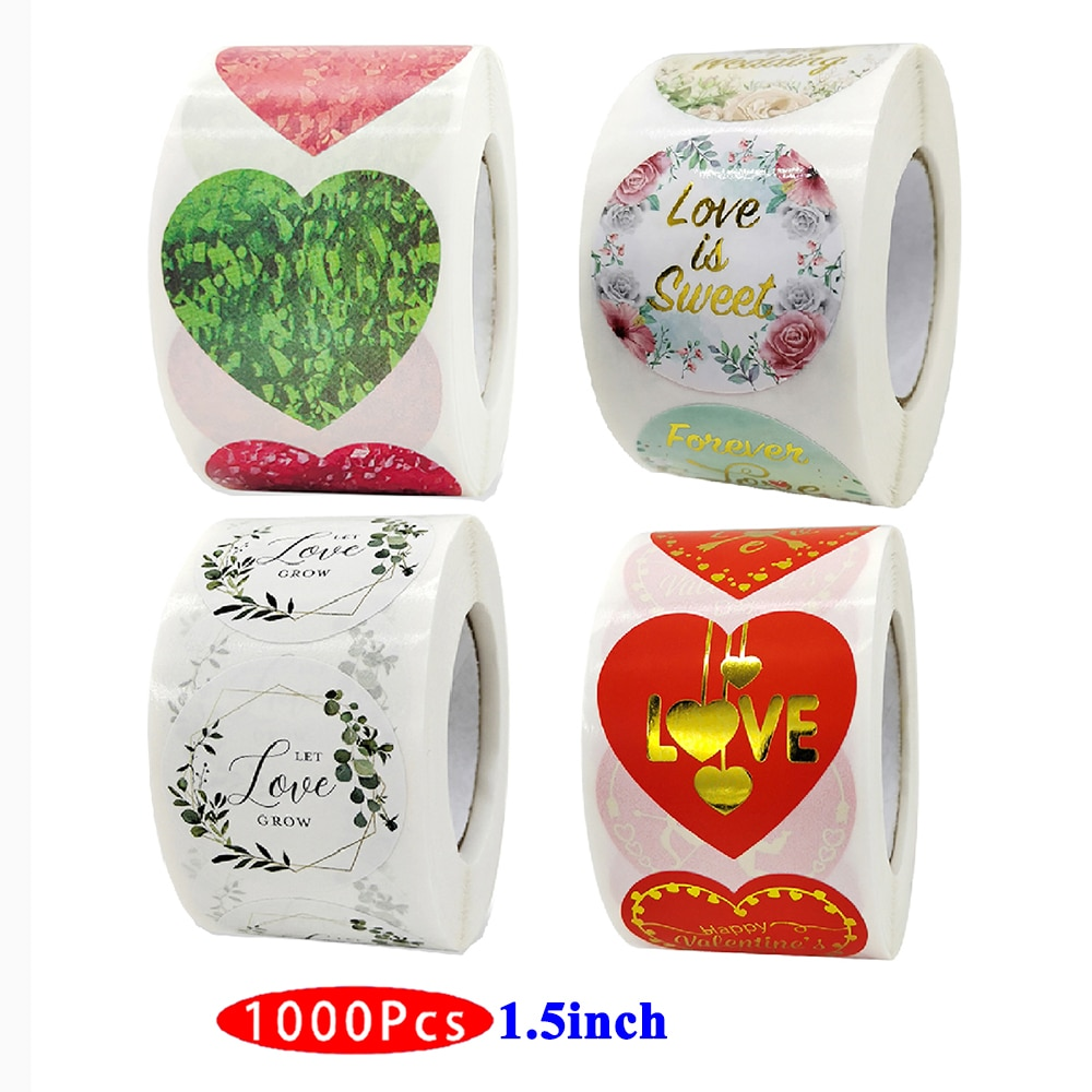 1.5inch 1000Pc Cute Heart Love Stickers Happy Wedding Valentine Day Kawaii Aesthetic Scrapbooking Party Ceremony Gift Seal Label
