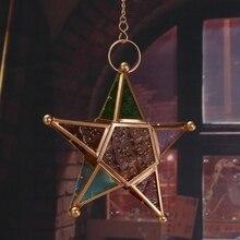 Accessoires de décoration de la maison décor à la maison multicolore verre étoile support votif suspendu éclairage lanterne fête danniversaire jardin
