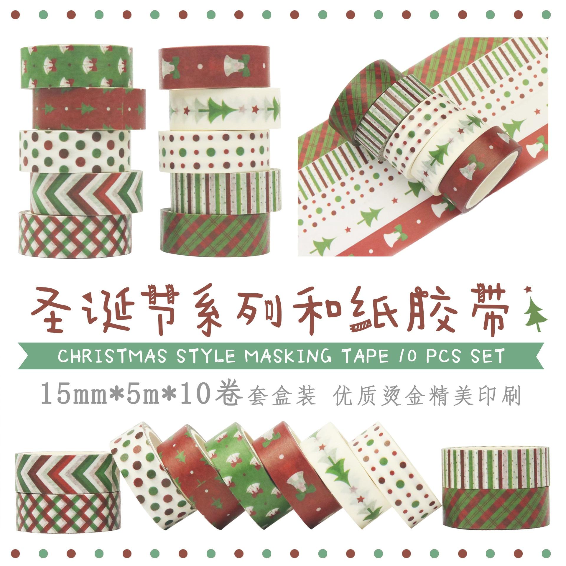 10 unids/lote de pegatinas decorativas de Navidad cintas Washi rojo y verde para álbum de recortes cinta adhesiva Kawaii papelería venta al por mayor de fábrica