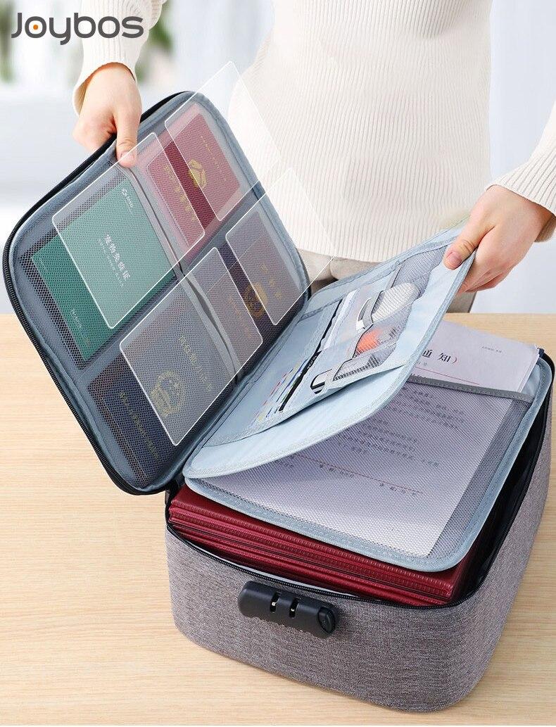 JOYBOS Password Privacy Large Document Bag File Folder Essential Oil Storage Bag Travel Passport Hol