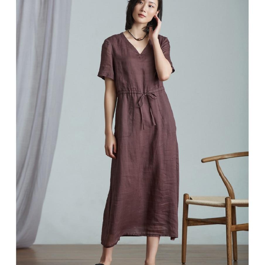 Cotton Linen Women's Short Sleeve Ramie Dress Female Summer Drawstring Long Dress Women'S Clothing Summer