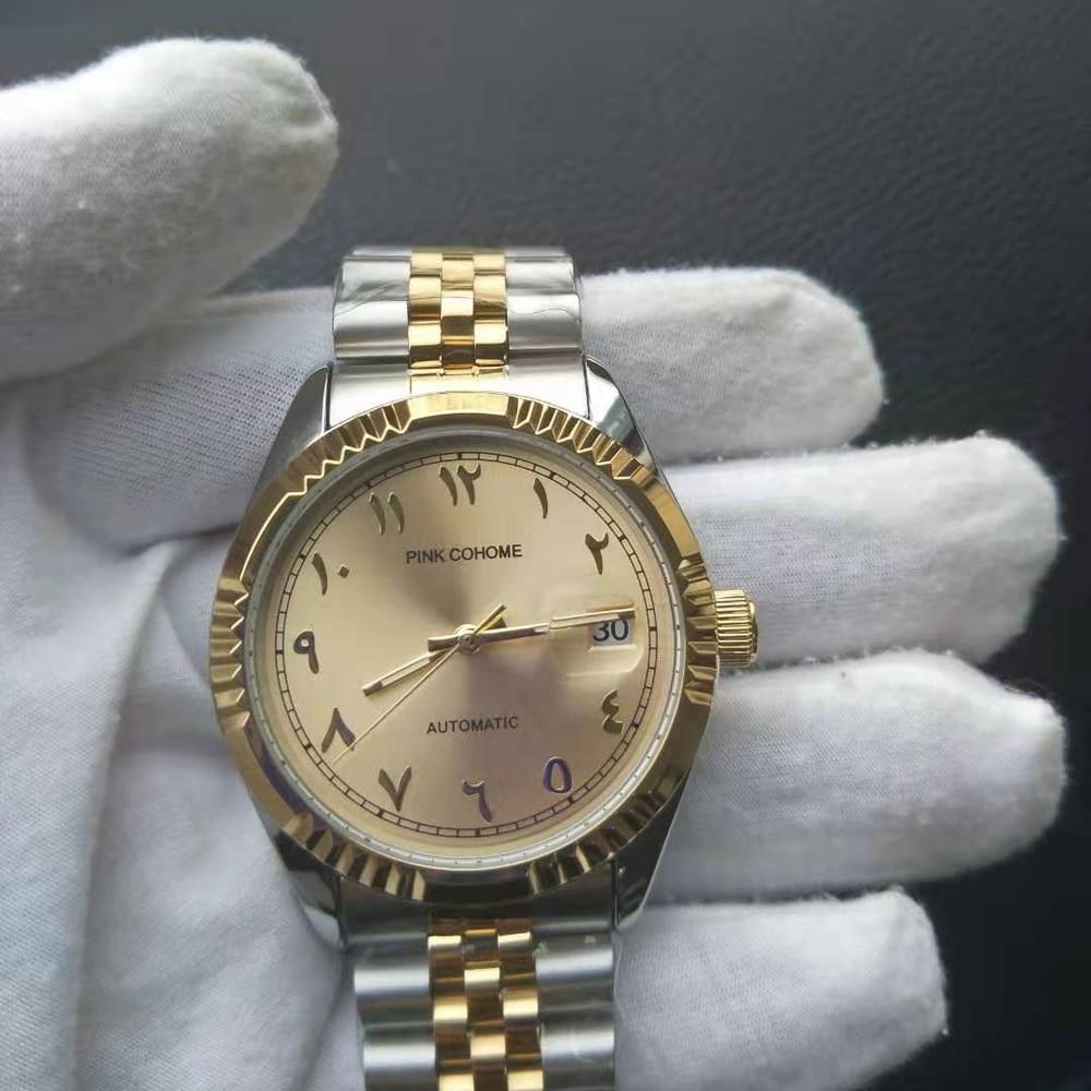 urdu numerais relógio de pulso mecânico masculino