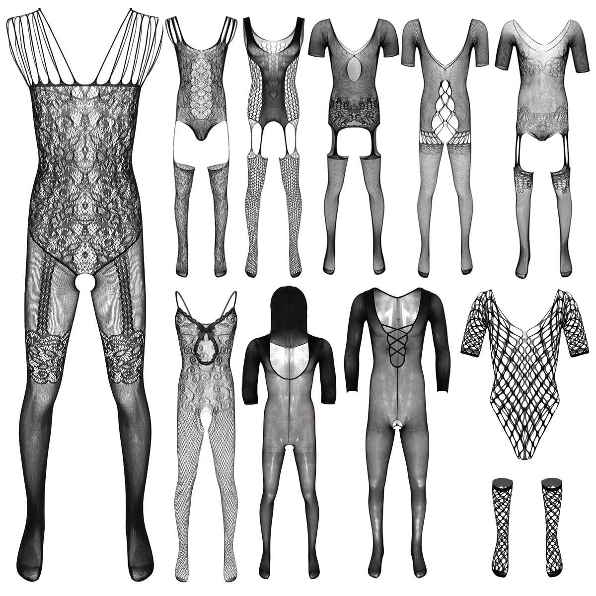 Ropa interior erótica para hombre, ropa de dormir transparente, malla transparente, Body de rejilla, pantimedias elásticas, medias sexis para hombre