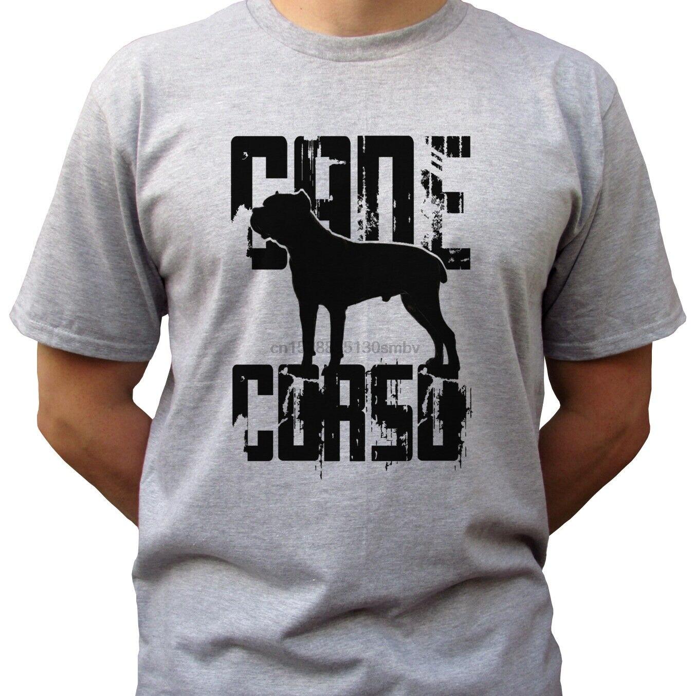 Cane Corso Logo-szary T Shirt koszulka motyw psa-męskie rozmiary