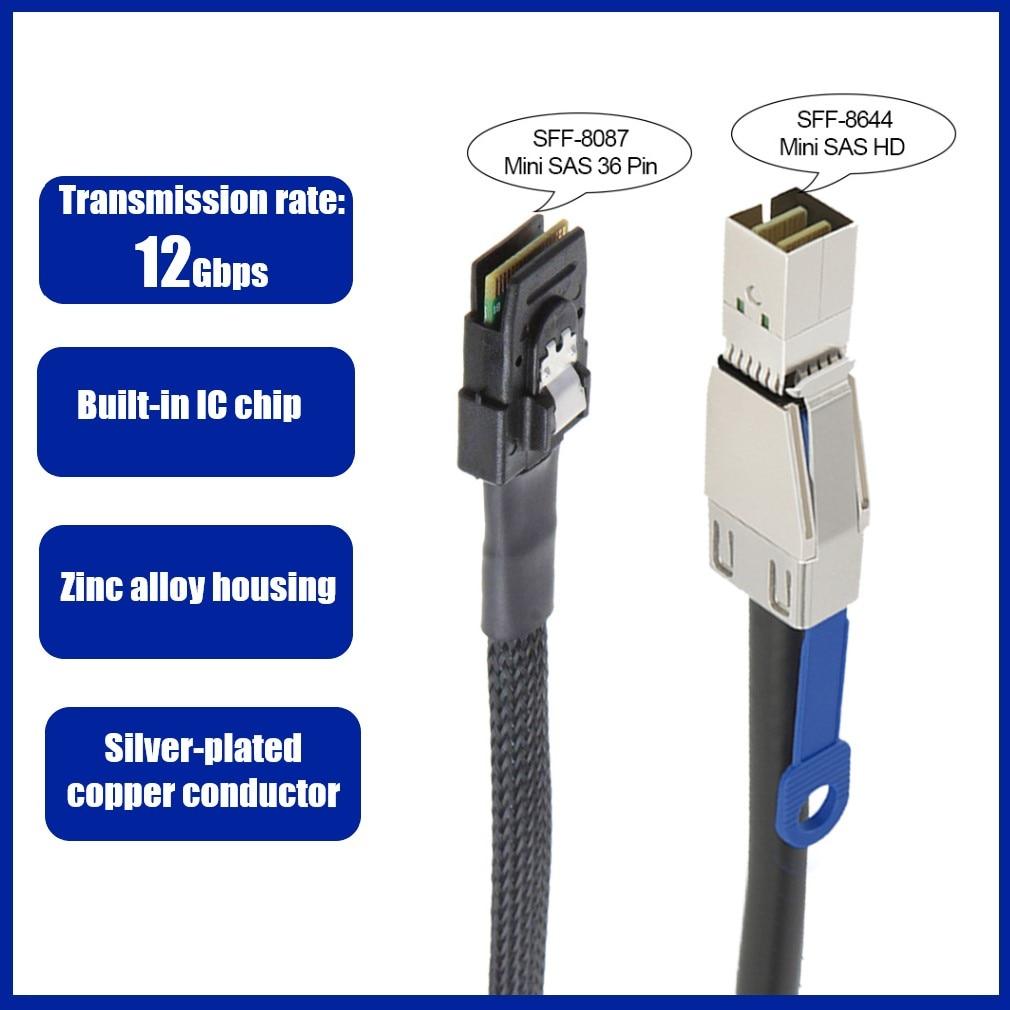 12Gbps الخارجية البسيطة SAS كابل SAS HD 36PIN SFF-8644 إلى SFF-8087 خادم القرص الصلب الشاسيه كابل تاريخ