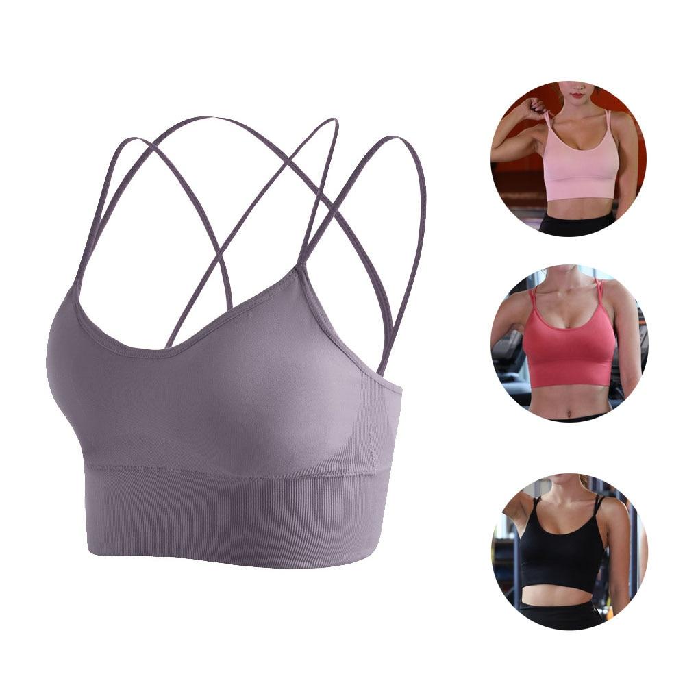 Palangre Rosa Sujetador deportivo de yoga running entrecruzado caliente lindo crop tops para chicas adolescentes mujeres moda caminar acolchado XXL de talla grande