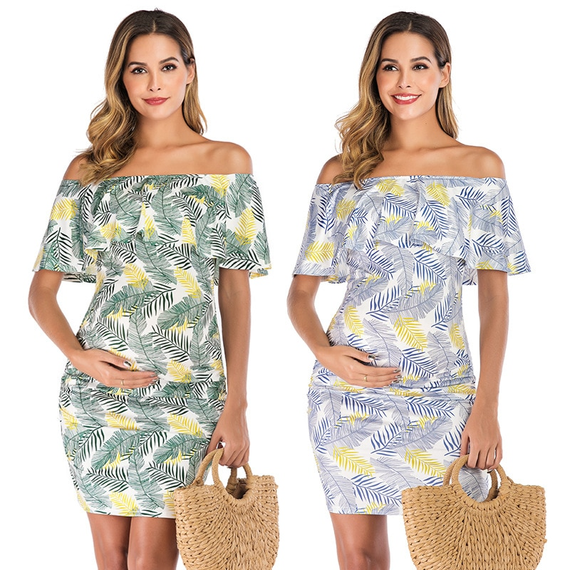 New Bohemian Sexy Maternity Dress Horizontal Neck Printed Pregnant Large Size Clothing Set Clothes
