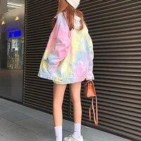 2021 autumn new korean fashion tie dye color gradient coat women loose long sleeve coat tide