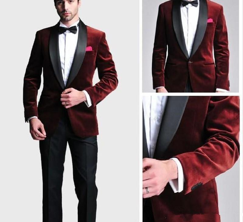 Fashionable Groom Tuxedos  One Button Dark Red Velvet Shawl Lapel Best Man Suit Wedding Men's Blazer Suits (Jacket+Pants+Tie)