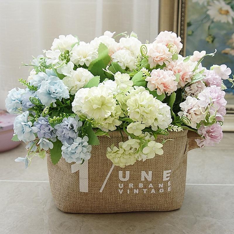 Europeu pequena primavera flores artificiais hortênsia flores decorativas decoração para casa decorações artificiais flores de casamento