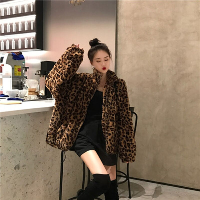 2021 Winter Leopord Pattern Coat WOMEN'S Top Thick Loose Retro Fluffy Woman Fake Fur Clothing Luxury Fashion Faux Fur