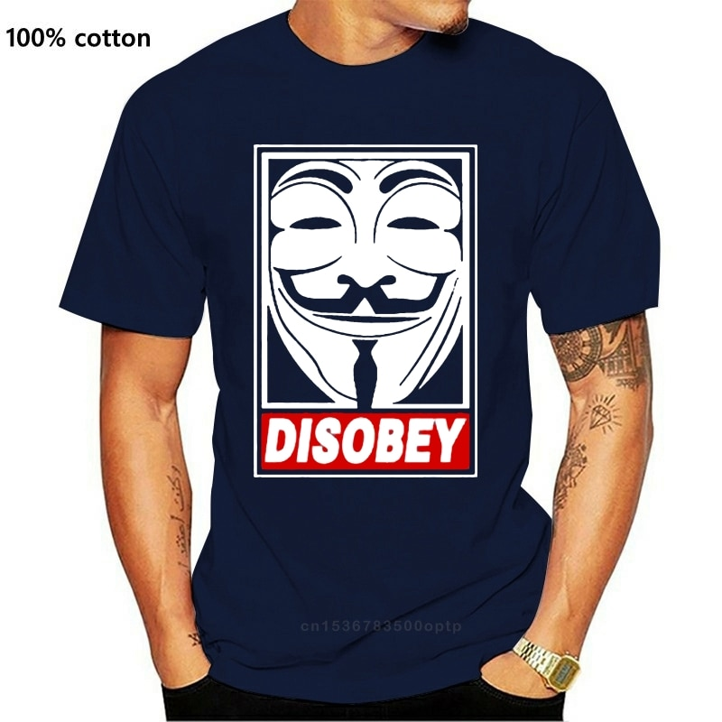 V para vendetta desobedecer anônimo cara fawkes máscara hacker t camisa camisetas marca roupas engraçado camiseta topo