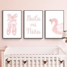 Art mural en forme de ballerine pour petites filles   Impression de couronne de cygne, toile peinture rose, affiche espagnole Ballet, décor de chambre à coucher pour filles